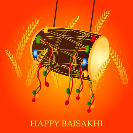 Happy Baisakhi with harvest illustration orange background. Ilustração
