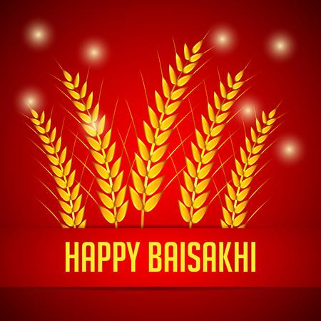 Happy Baisakhi with harvest illustration red background.