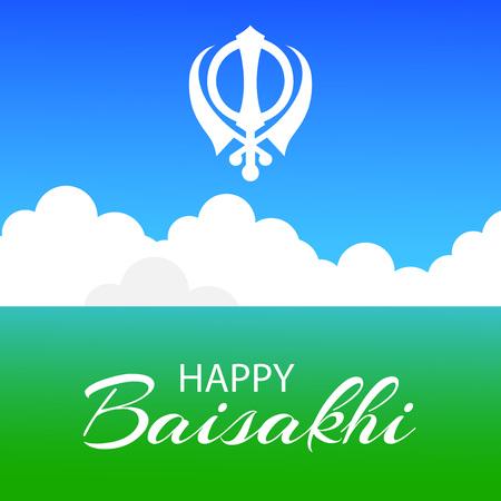 Happy Baisakhi with harvest illustration light background.