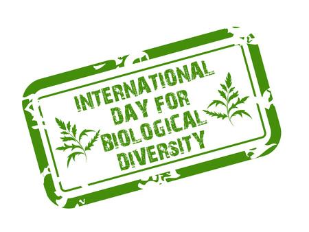 International Day for Biological Diversity stamp style lettering green on white background. Vector illustration.  イラスト・ベクター素材