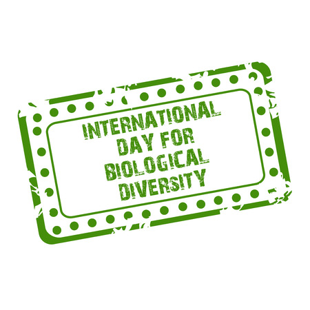 International Day for Biological Diversity stamp style lettering icon green on white background. vector illustration.