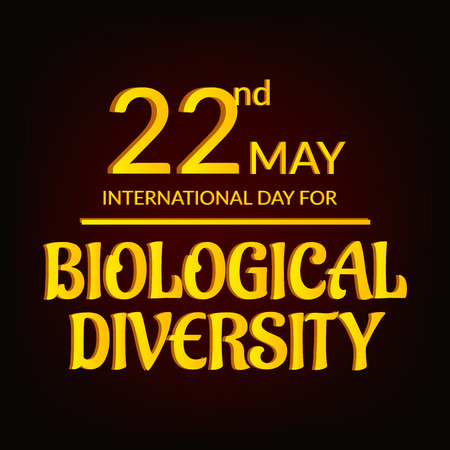 International Day for Biological Diversity gold or yellow lettering on dark background. vector illustration.