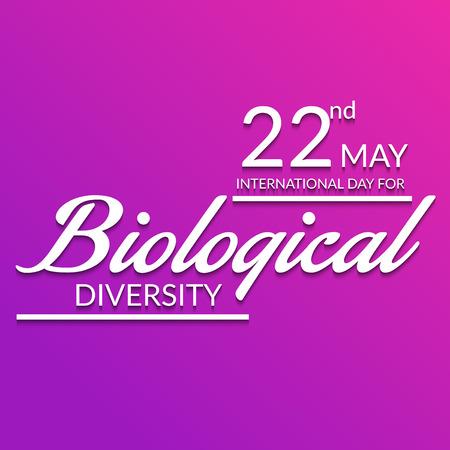 International Day for Biological Diversity white lettering on pink background. Vector illustration.  イラスト・ベクター素材