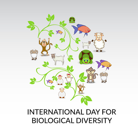 International Day for Biological Diversity concept with leaves and animals vector illustration.