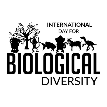 International Day for Biological Diversity banner with tree and animals silhouette on white background. vector illustration.