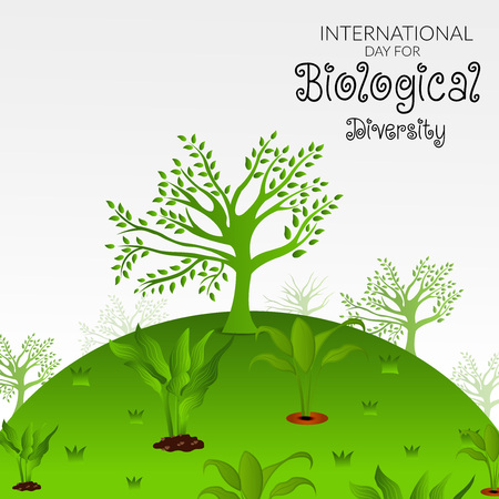 International Day for Biological Diversity text with trees Vector illustration. Stock Illustratie