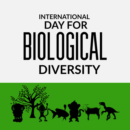 International Day for Biological Diversity text with tree and animals silhouette Vector illustration.