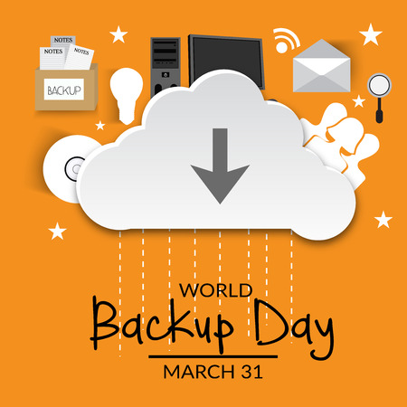 World Backup Day lettering with computer on orange background. Illustration