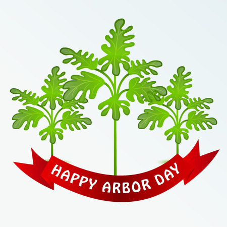 Happy Arbor Day with tree illustration on light background. Illustration