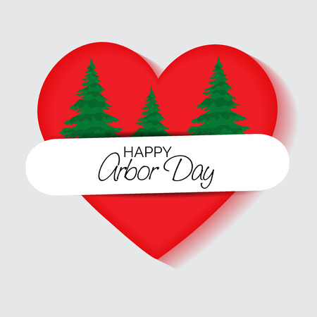 Happy Arbor Day with tree inside heart illustration on light background. Illustration