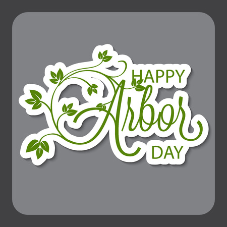 Happy Arbor Day with leaf illustration on gray background. Illustration
