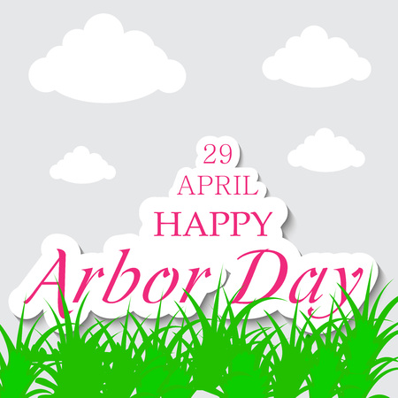Arbor Day banner with grass and clouds. Vector illustration.
