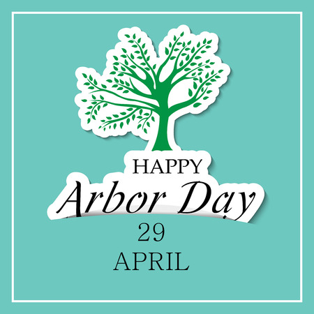 Arbor Day banner with tree and text on blue background. Vector illustration.
