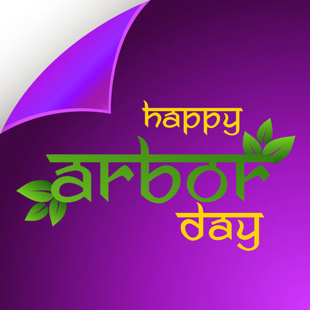 Arbor Day banner template with leaves on violet background. Vector illustration.