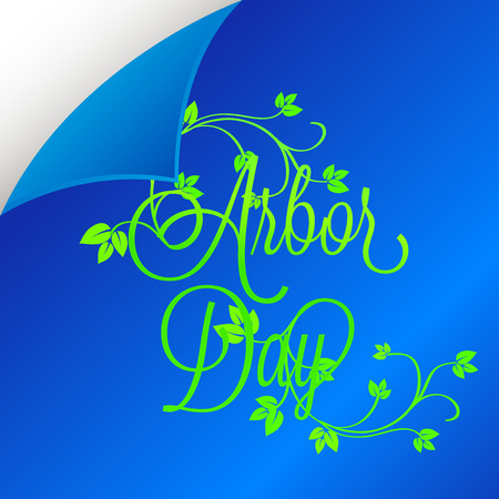 Arbor Day banner template with leaves on blue background. Vector illustration. Illustration