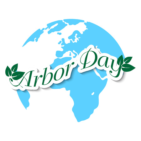 Arbor Day banner template with leaves on world background. Vector illustration. Illustration