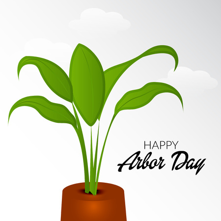 Arbor Day banner template with plant on white cloudy background. Vector illustration.