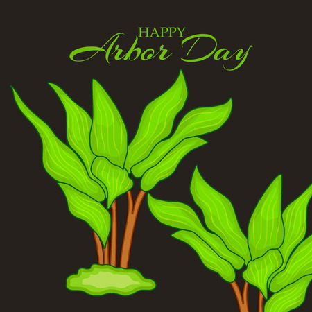 Arbor Day banner template with plants on dark background. Vector illustration. Illustration