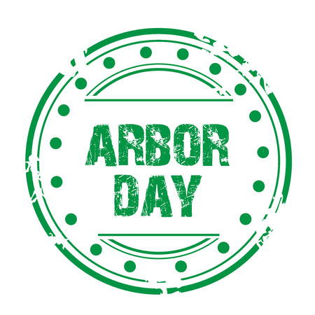 Arbor Day stamp style icon green on white background, vector illustration.