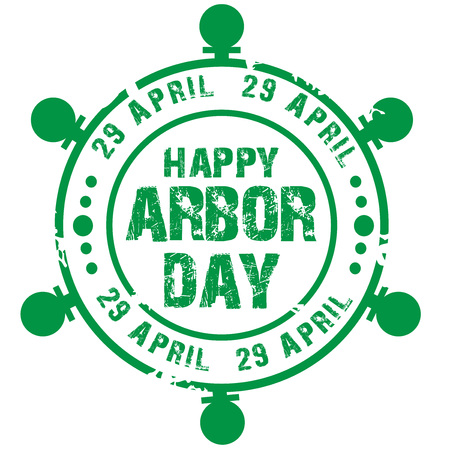 Arbor Day stamp design vector illustration