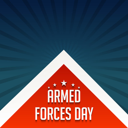 Armed Forces Day banner with stars and red and white triangles on blue rays background. vector illustration. Ilustração