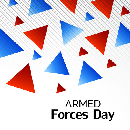 Armed Forces Day with red and blue triangles on white background. Vector illustration.