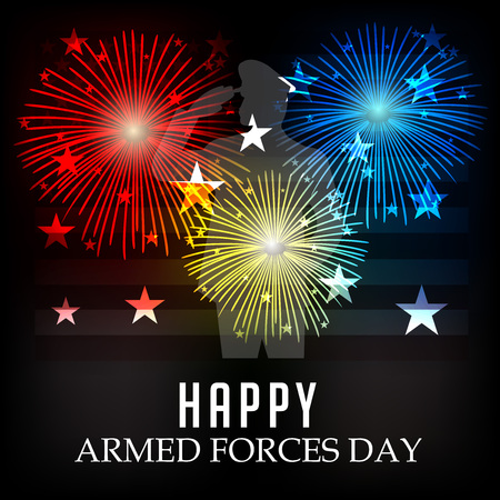 Armed Forces Day banner with soldier silhouette, white stars and red, yellow and blue sparks on black background. Vector illustration.