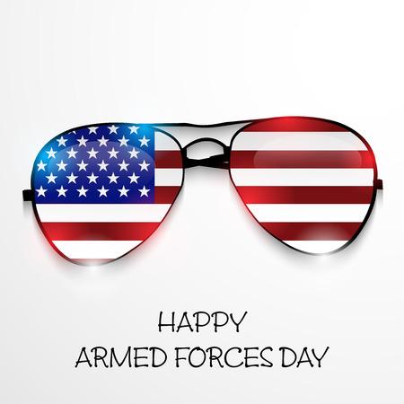 Armed Forces Day banner with USA flag on eyeglasses on white background. Vector illustration. Ilustração