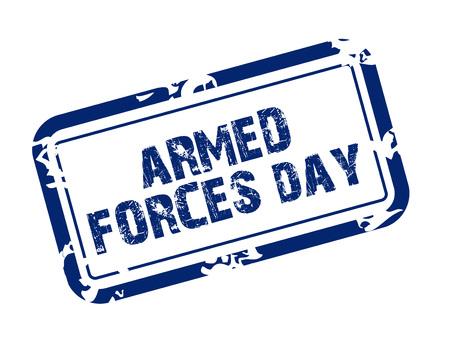 Armed Forces Day stamp style icon blue on white background. Vector illustration. Ilustração