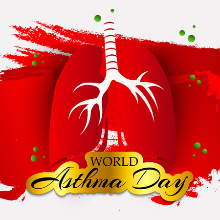 World Asthma Day with text and lungs on color background. Vector illustration.