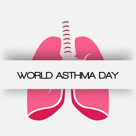 World Asthma Day banner with text and lungs on white background. vector illustration.