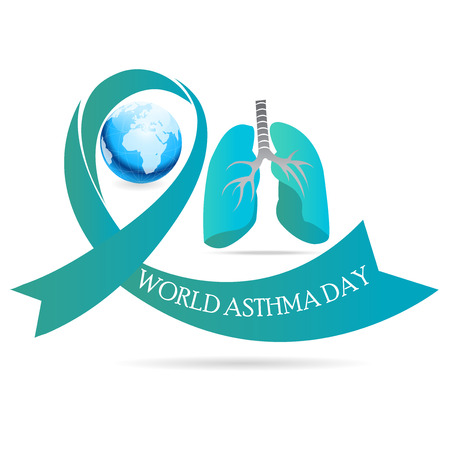 World Asthma Day concept with earth, lungs and ribbon on white background. Vector illustration. Illustration