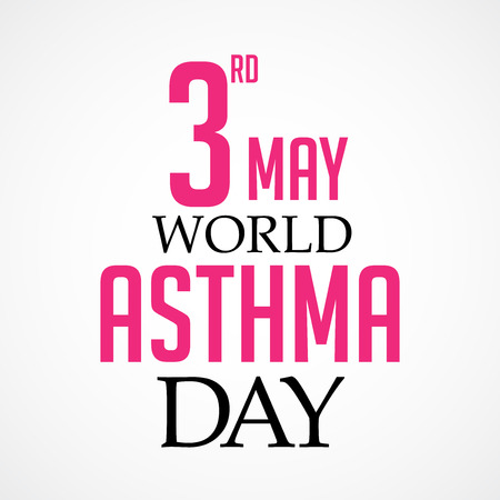World Asthma Day concept with text in black and pink on white background. vector illustration. Illustration