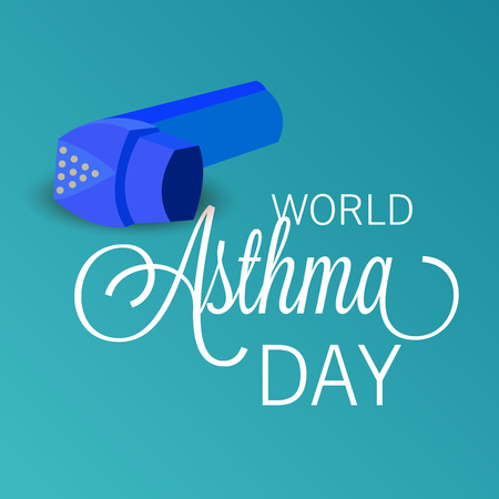 World Asthma Day concept with text and inhaler on color background. vector illustration. Illustration