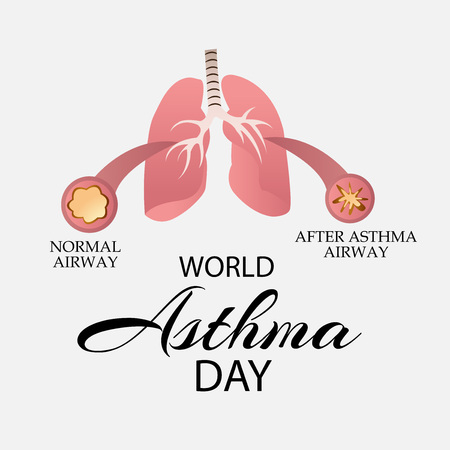 World Asthma Day concept with text and lungs on color background. vector illustration.