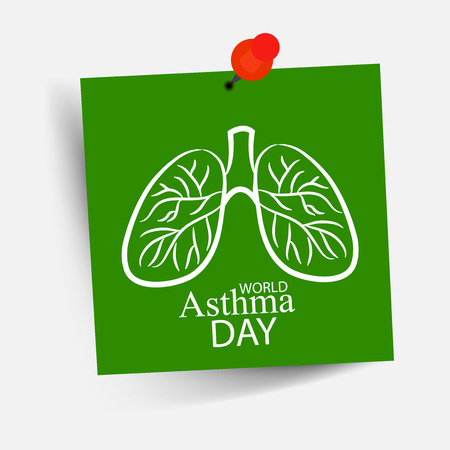 World Asthma Day concept with text and lungs on note with pin. vector illustration. Illustration