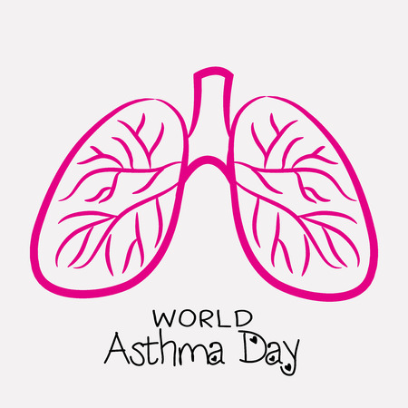 World Asthma Day concept with text and lungs on light background. vector illustration. Illustration