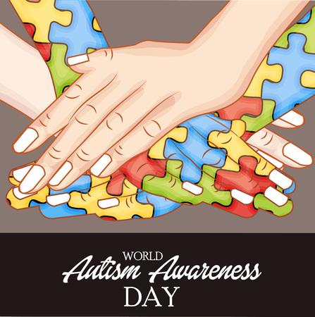 World Autism Awareness Day concept with text and colorful jigsaw puzzle on color background. vector illustration. Illustration