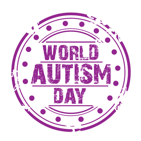 World Autism Awareness Day concept stamp style icon violet on white background. vector illustration. 矢量图像