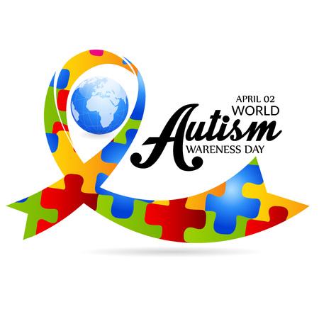 Światowy dzień świadomości autyzmu koncepcja z tekstem i kolorową wstążką na białym tle. ilustracji wektorowych.