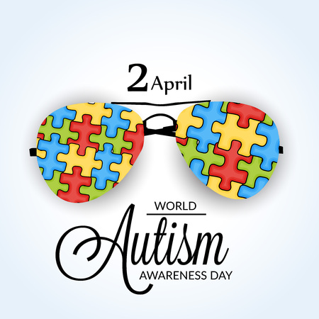 World Autism Awareness Day concept with text and colorful jigsaw puzzle eyeglasses on white background. Vector illustration. 矢量图像