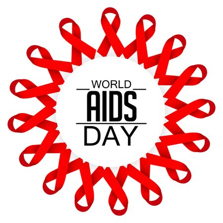 World Aids Day concept with text and red ribbons on white background. vector illustration. Illustration