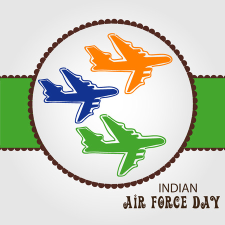 Indian Air Force Day concept with lettering and yellow, green and blue airplanes. vector illustration.