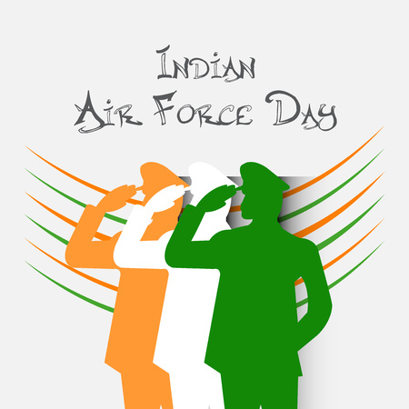 Indian Air Force Day concept with lettering and soldiers on white background. Vector illustration.