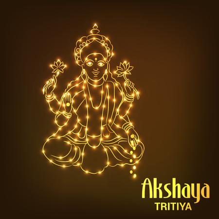 Akshaya Tritiya concept with text and lights design on brown background. Vector illustration.