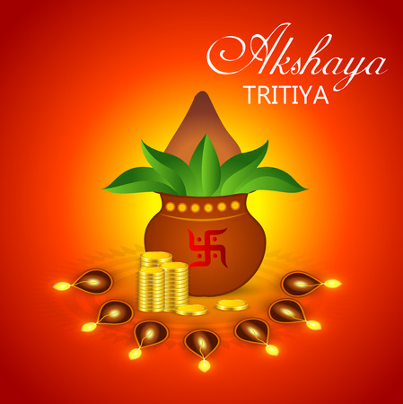 Akshaya Tritiya concept banner with plant and gold coins on color background. Vector illustration.