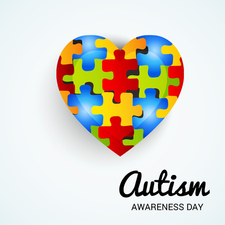 World autism awareness day banner with jigsaw heart on  light color background. Vector illustration. Иллюстрация