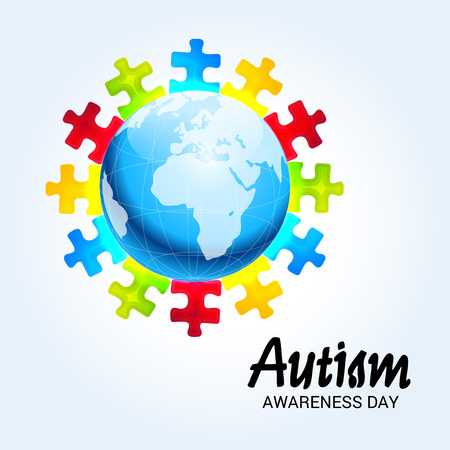 World autism awareness day banner with jigsaw pieces around earth on  color background. Vector illustration.