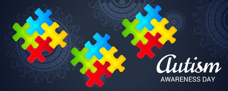 World autism awareness day banner with jigsaw puzzles on dark background. Vector illustration.
