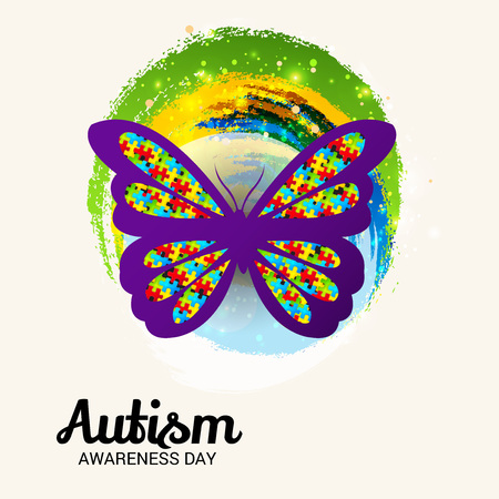 World autism awareness day banner with butterfly on light background. Vector illustration.